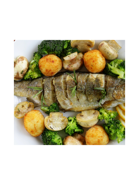 Meal of the Day - MONDAY - Trout with Mash potato and roast veg